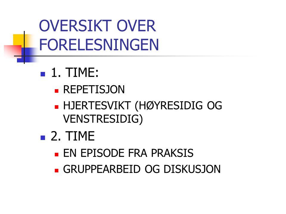OVERSIKT OVER FORELESNINGEN 1.TIME: REPETISJON HJERTESVIKT (HØYRESIDIG OG VENSTRESIDIG) 2.