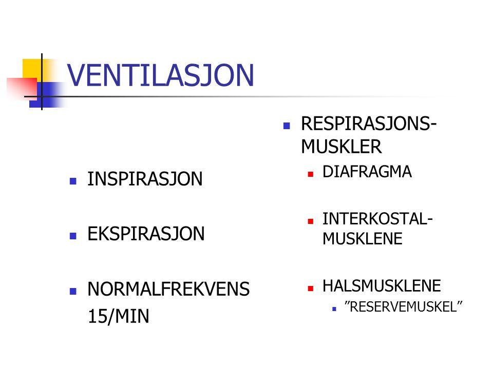 VENTILASJON INSPIRASJON EKSPIRASJON NORMALFREKVENS 15/MIN RESPIRASJONS- MUSKLER DIAFRAGMA INTERKOSTAL- MUSKLENE HALSMUSKLENE RESERVEMUSKEL
