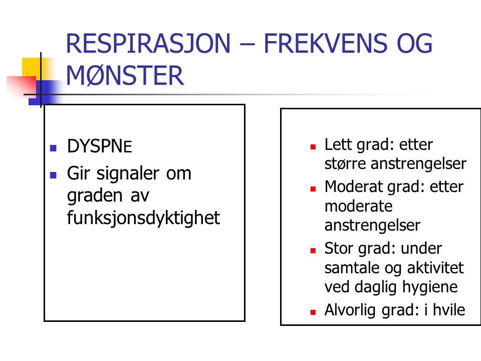 RESPIRASJON – FREKVENS OG MØNSTER DYSPNÈ ÅRSAKER GALT SENGELEIE STUVNING LUNGEBETENNELSE ASTMA LUNGEEMBOLI LUNGEKREFT