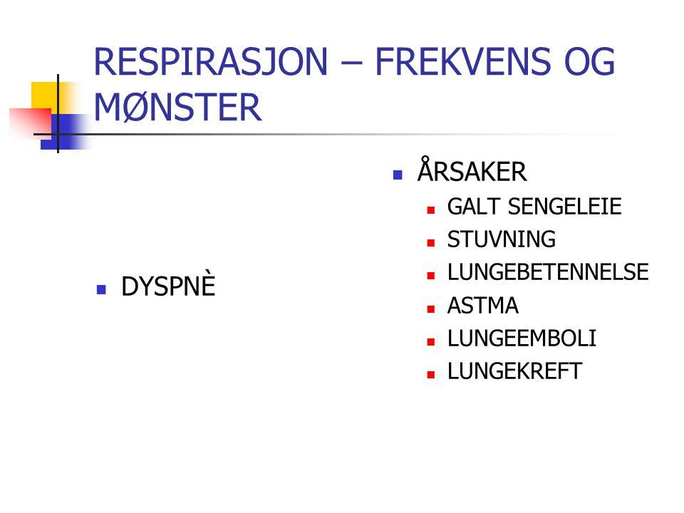 FAKTORER SOM KAN PÅVIRKE RESPIRASJONEN MEDIKAMENTER SOM SVEKKER RESPIRASJONEN: Opioider (morfin, petidin og kodein) Diazepam (for eksempel Vival) Viktig å observer pasientens respirasjon nøye etter inntak av slike legemidler!