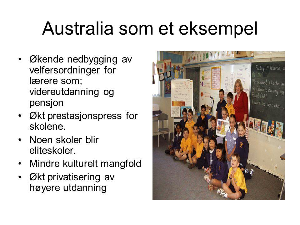 Australia som et eksempel Økende nedbygging av velfersordninger for lærere som; videreutdanning og pensjon Økt prestasjonspress for skolene. Noen skol