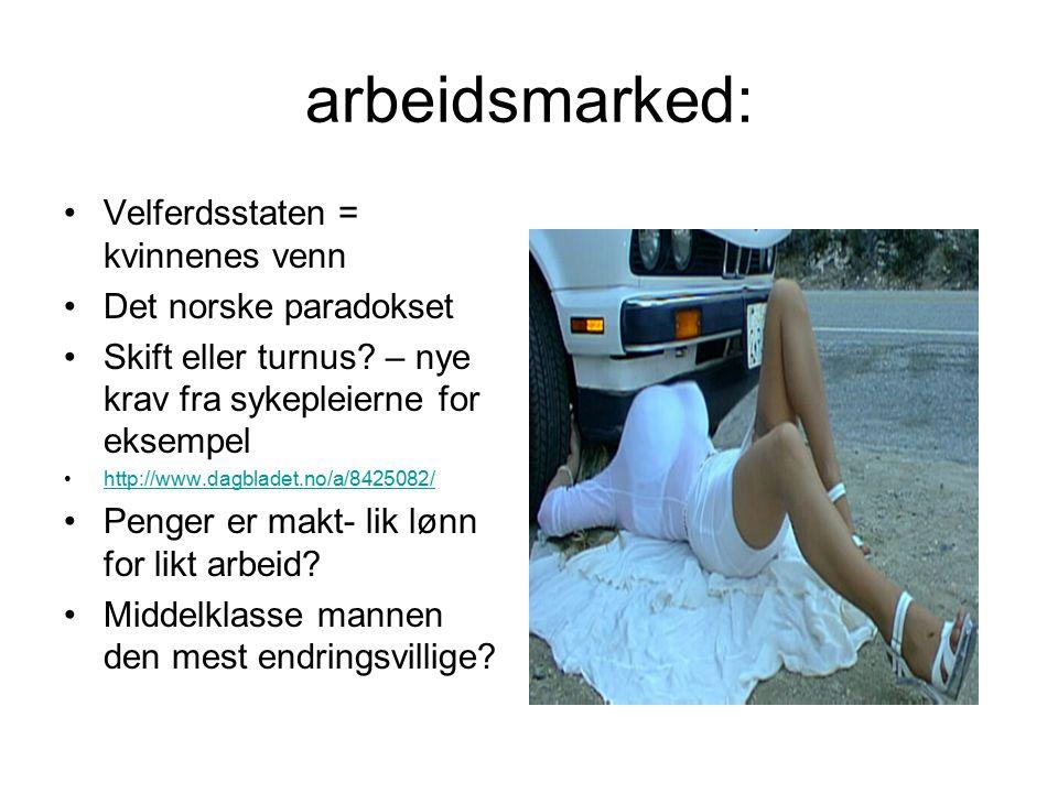 arbeidsmarked: Velferdsstaten = kvinnenes venn Det norske paradokset Skift eller turnus.
