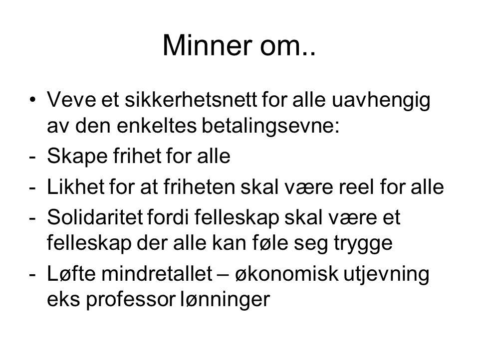 Kollektive ordinger for; Sosialforsikring Inntektsfordeling Tjenesteproduksjon Finansieres av personlig beskatning som betyr at i Norge må ha politikerene velgerne med seg