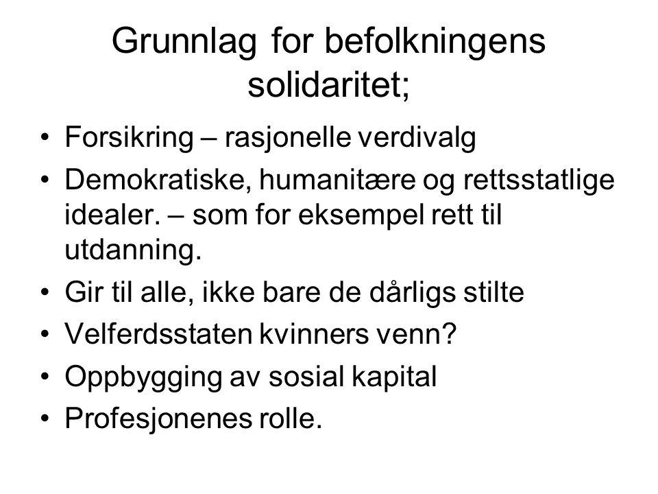 Grunnlag for befolkningens solidaritet; Forsikring – rasjonelle verdivalg Demokratiske, humanitære og rettsstatlige idealer.