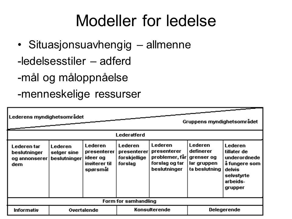 Modeller for ledelse Situasjonsuavhengig – allmenne -ledelsesstiler – adferd -mål og måloppnåelse -menneskelige ressurser