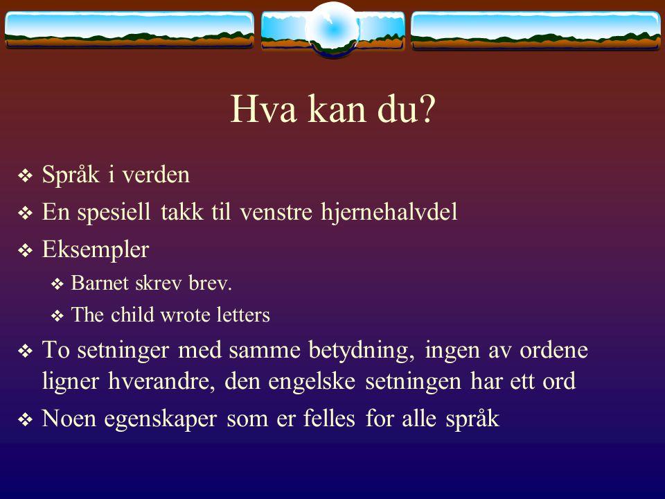 Hva kan du?  Språk i verden  En spesiell takk til venstre hjernehalvdel  Eksempler  Barnet skrev brev.  The child wrote letters  To setninger me
