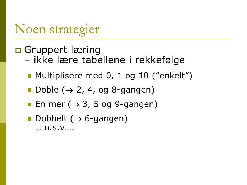 """Noen strategier  Gruppert læring – ikke lære tabellene i rekkefølge Multiplisere med 0, 1 og 10 (""""enkelt"""") Doble ( 2, 4, og 8-gangen) En mer ( 3, 5"""