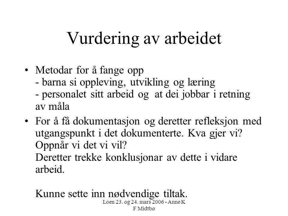 Loen 23. og 24. mars 2006 - Anne K F Midtbø Vurdering av arbeidet Metodar for å fange opp - barna si oppleving, utvikling og læring - personalet sitt