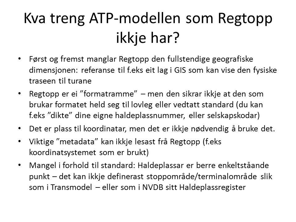 Kva treng ATP-modellen som Regtopp ikkje har? Først og fremst manglar Regtopp den fullstendige geografiske dimensjonen: referanse til f.eks eit lag i