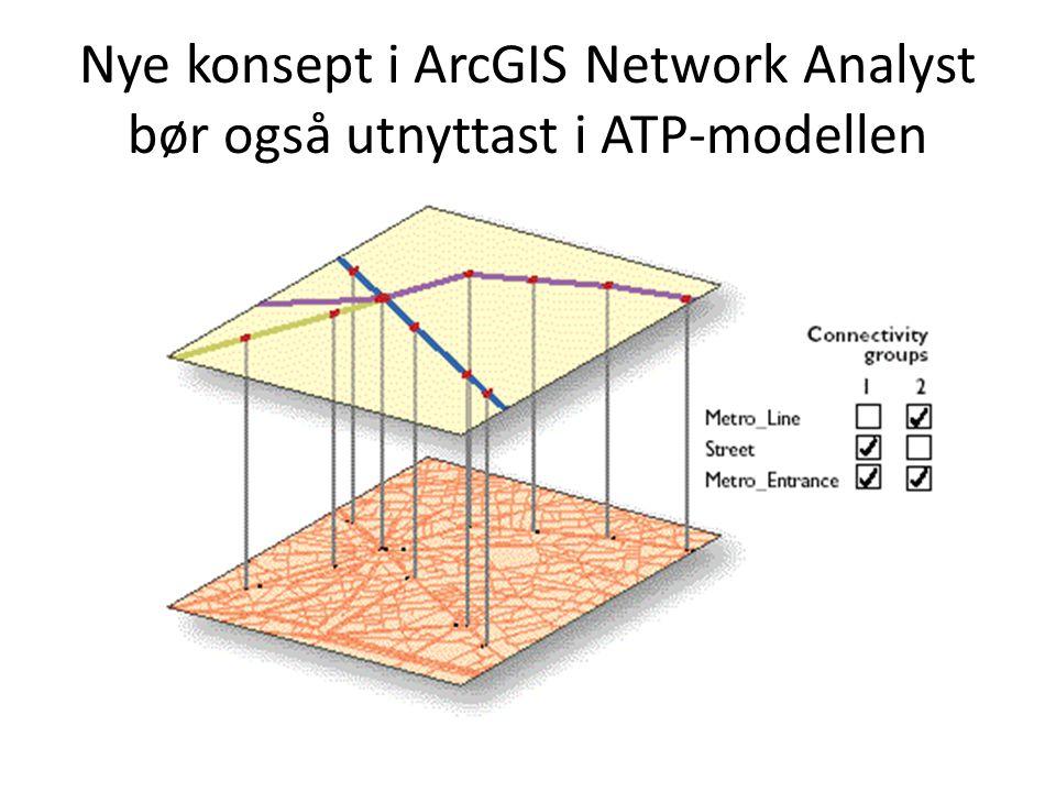 Nye konsept i ArcGIS Network Analyst bør også utnyttast i ATP-modellen