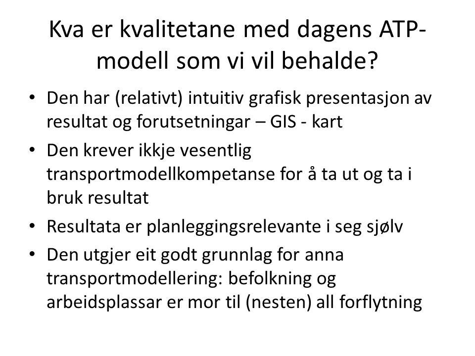 Kva er kvalitetane med dagens ATP- modell som vi vil behalde? Den har (relativt) intuitiv grafisk presentasjon av resultat og forutsetningar – GIS - k