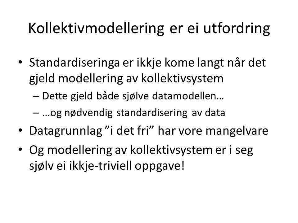 Kollektivmodellering er ei utfordring Standardiseringa er ikkje kome langt når det gjeld modellering av kollektivsystem – Dette gjeld både sjølve data