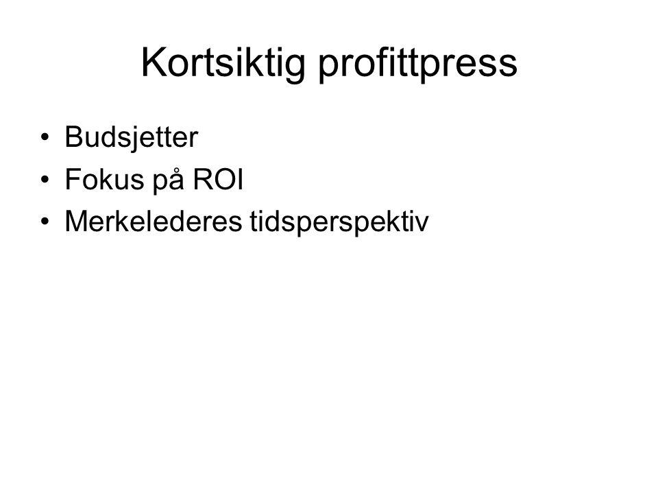 Kortsiktig profittpress Budsjetter Fokus på ROI Merkelederes tidsperspektiv