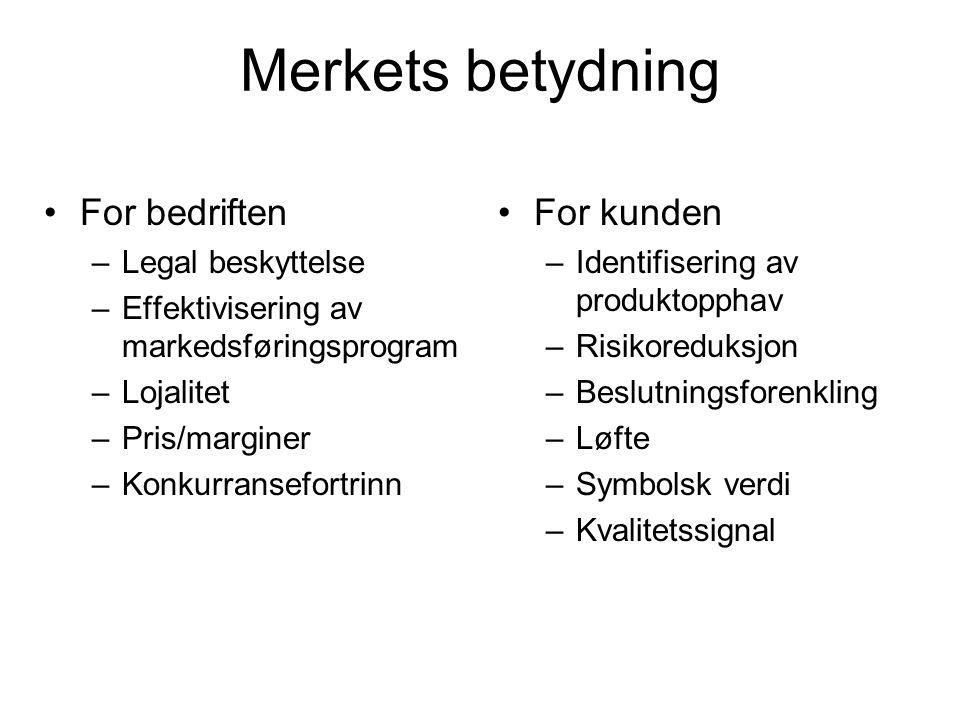 Merkets betydning For bedriften –Legal beskyttelse –Effektivisering av markedsføringsprogram –Lojalitet –Pris/marginer –Konkurransefortrinn For kunden