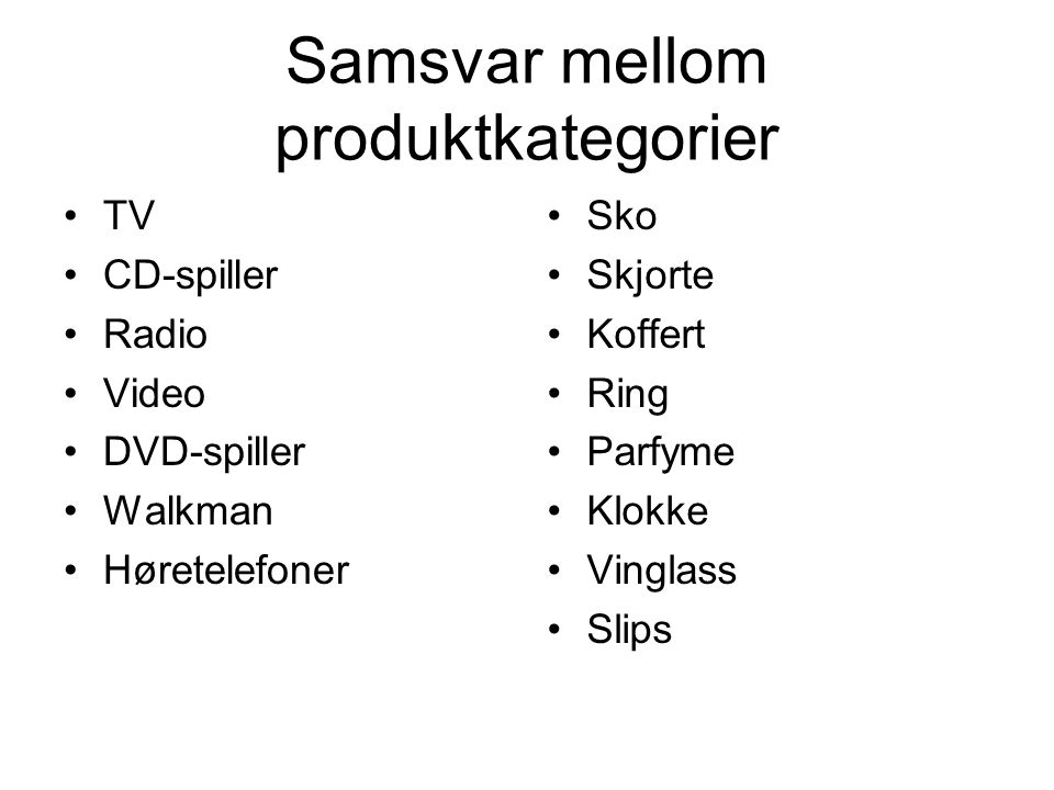 Samsvar mellom produktkategorier TV CD-spiller Radio Video DVD-spiller Walkman Høretelefoner Sko Skjorte Koffert Ring Parfyme Klokke Vinglass Slips