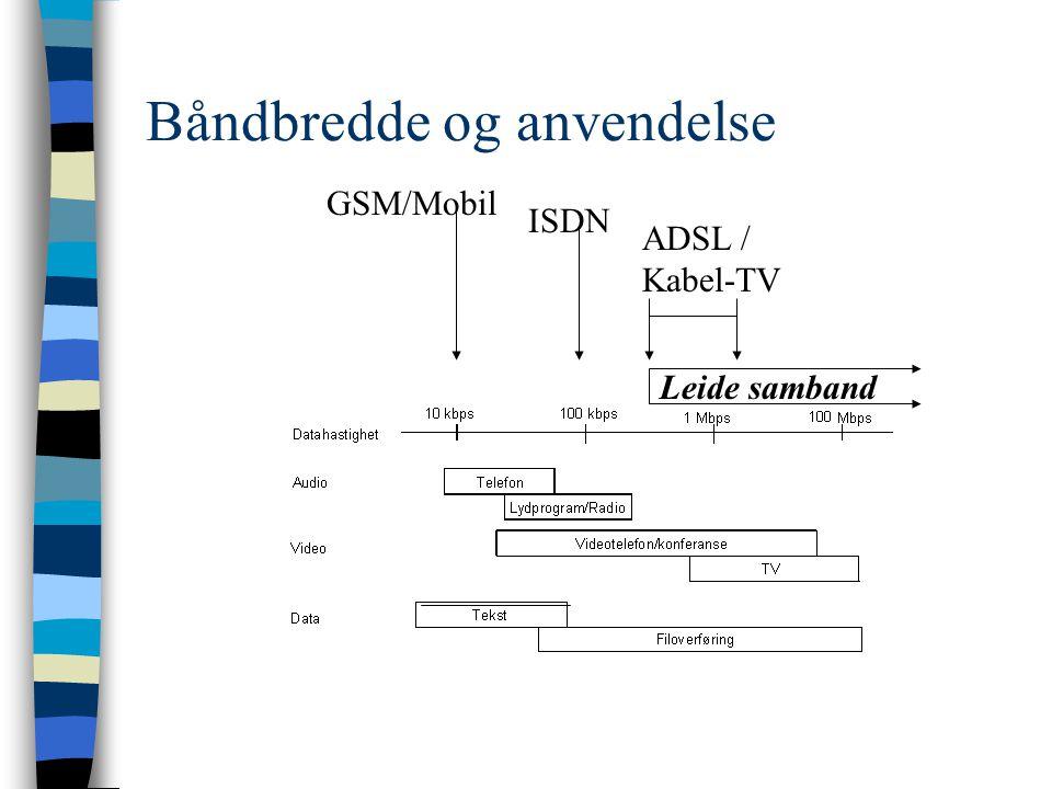 Stikkord om teletjenester n ISDN –typisk privat/hjemmekontor, 10kr/timen n Kabel-TV, ADSL –privatbruker mye surfing på Internett, 300+ kr/mnd n Fast tilkopling, variabel trafikk (Frame relay) –bedrifter, 64k-2 Mb, 2-8000kr/mnd n Leide samband –Fast tilkopling, fast kapasitet 64 Kb-155Mb –Telenor tilbyr over alt , fungerer som et øvre pristak, pris avhengig av avstand og plassering