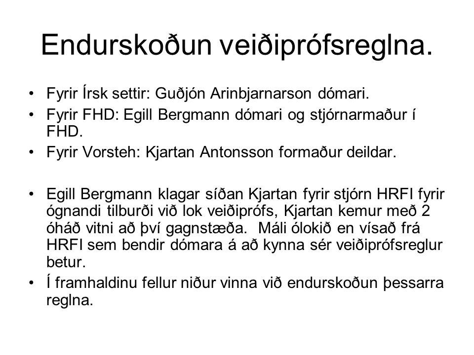 Endurskoðun veiðiprófsreglna. Fyrir Írsk settir: Guðjón Arinbjarnarson dómari.