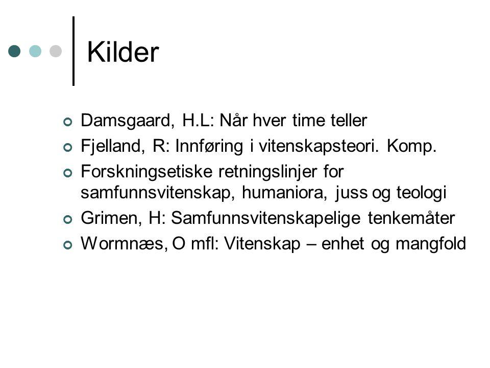 Kilder Damsgaard, H.L: Når hver time teller Fjelland, R: Innføring i vitenskapsteori.