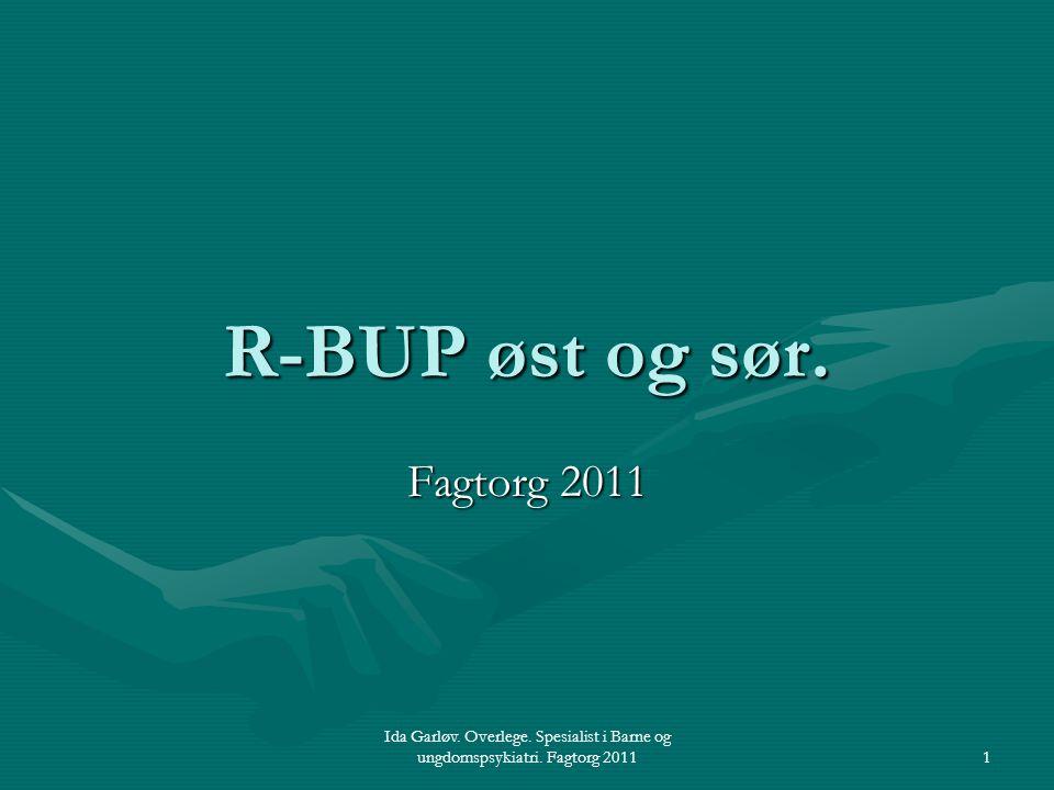 Ida Garløv. Overlege. Spesialist i Barne og ungdomspsykiatri. Fagtorg 20111 R-BUP øst og sør. Fagtorg 2011
