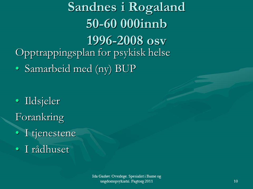 Ida Garløv. Overlege. Spesialist i Barne og ungdomspsykiatri. Fagtorg 201110 Sandnes i Rogaland 50-60 000innb 1996-2008 osv Opptrappingsplan for psyki