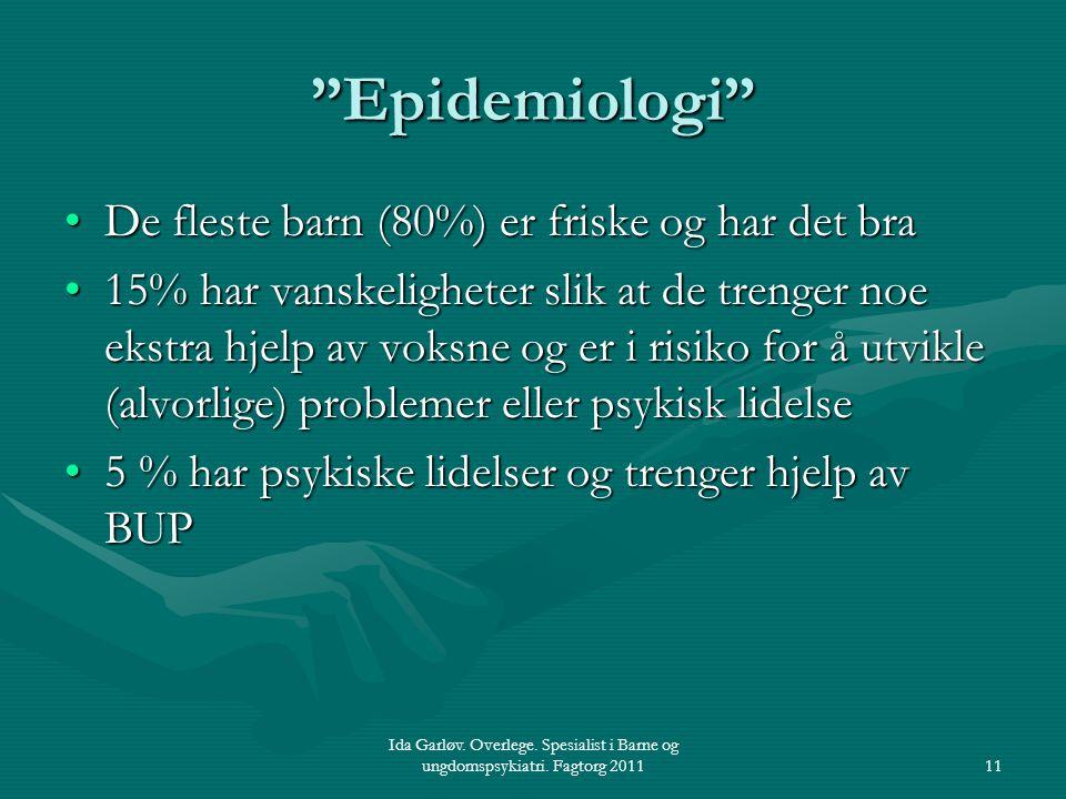 """Ida Garløv. Overlege. Spesialist i Barne og ungdomspsykiatri. Fagtorg 201111 """"Epidemiologi"""" De fleste barn (80%) er friske og har det braDe fleste bar"""