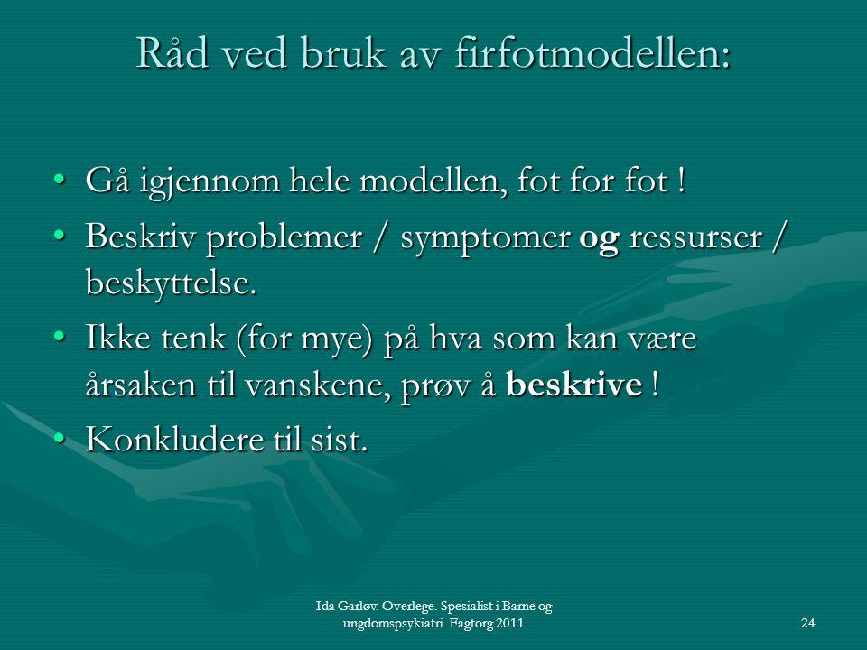 Ida Garløv. Overlege. Spesialist i Barne og ungdomspsykiatri. Fagtorg 201124 Råd ved bruk av firfotmodellen: Gå igjennom hele modellen, fot for fot !G