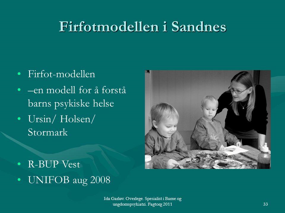 Ida Garløv. Overlege. Spesialist i Barne og ungdomspsykiatri. Fagtorg 201133 Firfotmodellen i Sandnes Firfot-modellen –en modell for å forstå barns ps