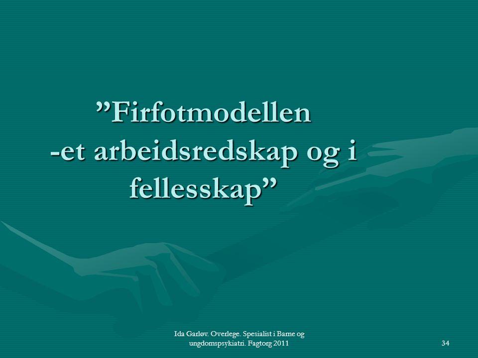 """Ida Garløv. Overlege. Spesialist i Barne og ungdomspsykiatri. Fagtorg 201134 """"Firfotmodellen -et arbeidsredskap og i fellesskap"""""""