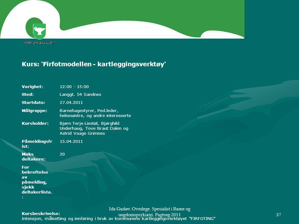 Ida Garløv. Overlege. Spesialist i Barne og ungdomspsykiatri. Fagtorg 201137 Kurs: 'Firfotmodellen - kartleggingsverktøy' Varighet: 12:00 - 15:00 Sted