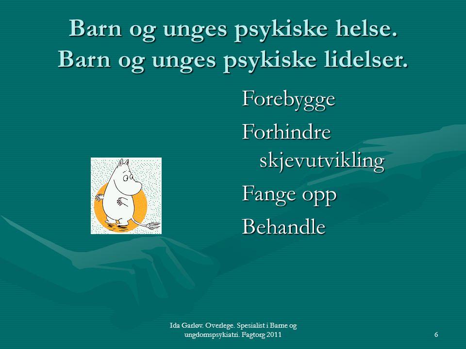 Ida Garløv. Overlege. Spesialist i Barne og ungdomspsykiatri. Fagtorg 20116 Barn og unges psykiske helse. Barn og unges psykiske lidelser. Forebygge F