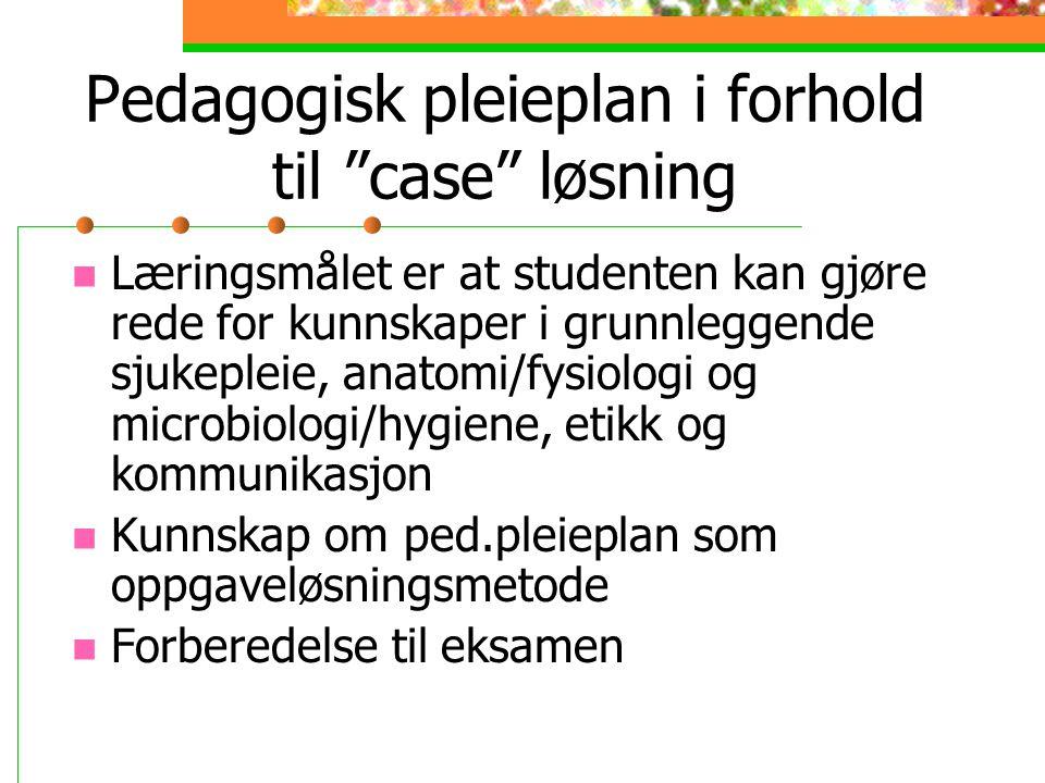 """Pedagogisk pleieplan i forhold til """"case"""" løsning Læringsmålet er at studenten kan gjøre rede for kunnskaper i grunnleggende sjukepleie, anatomi/fysio"""
