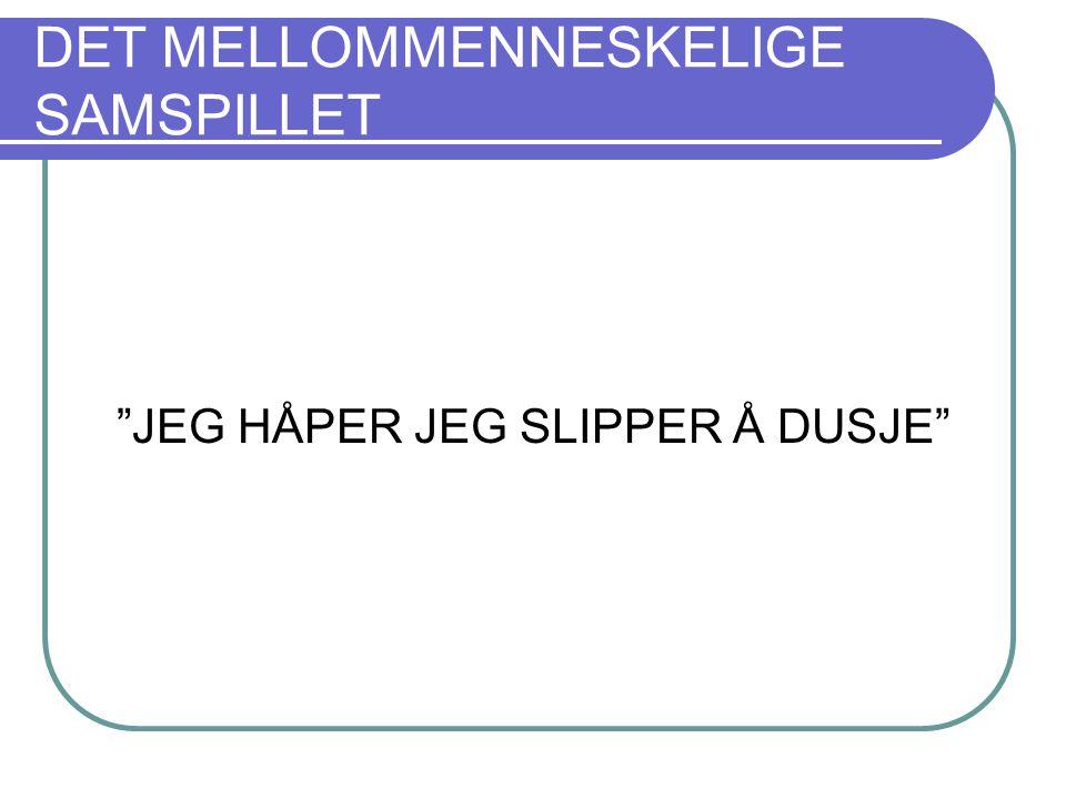 """DET MELLOMMENNESKELIGE SAMSPILLET """"JEG HÅPER JEG SLIPPER Å DUSJE"""""""