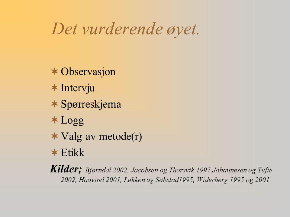 Det vurderende øyet.  Observasjon  Intervju  Spørreskjema  Logg  Valg av metode(r)  Etikk Kilder; Bjørndal 2002, Jacobsen og Thorsvik 1997,Johan