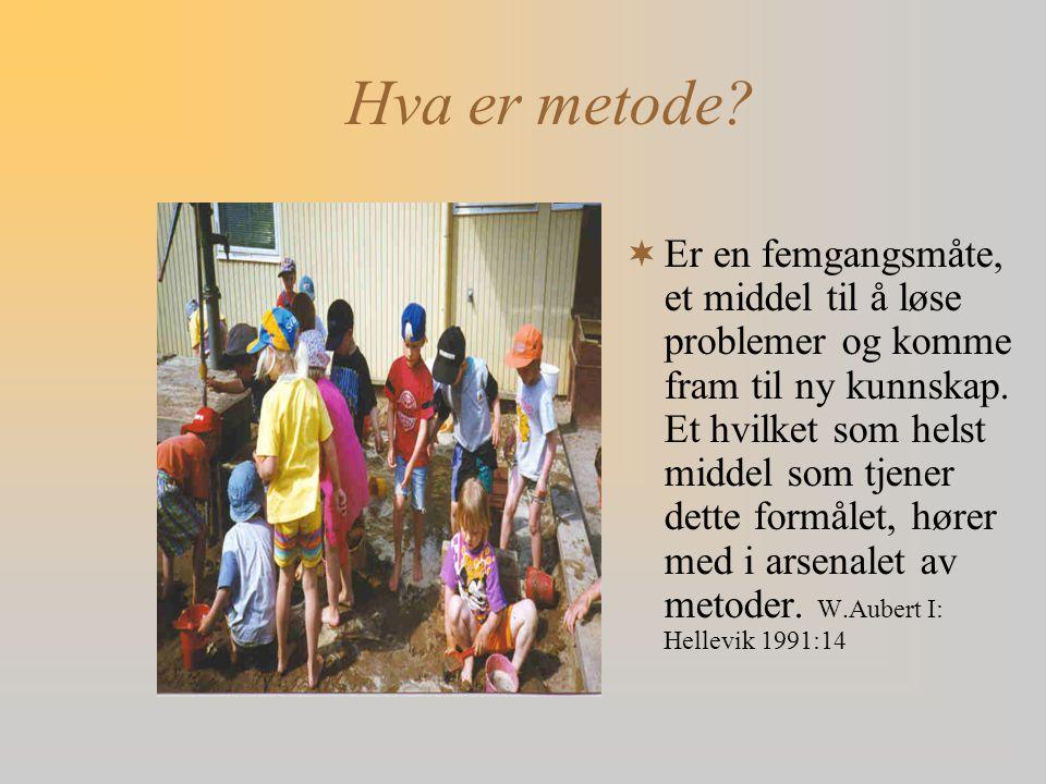 Hva er metode?  Er en femgangsmåte, et middel til å løse problemer og komme fram til ny kunnskap. Et hvilket som helst middel som tjener dette formål