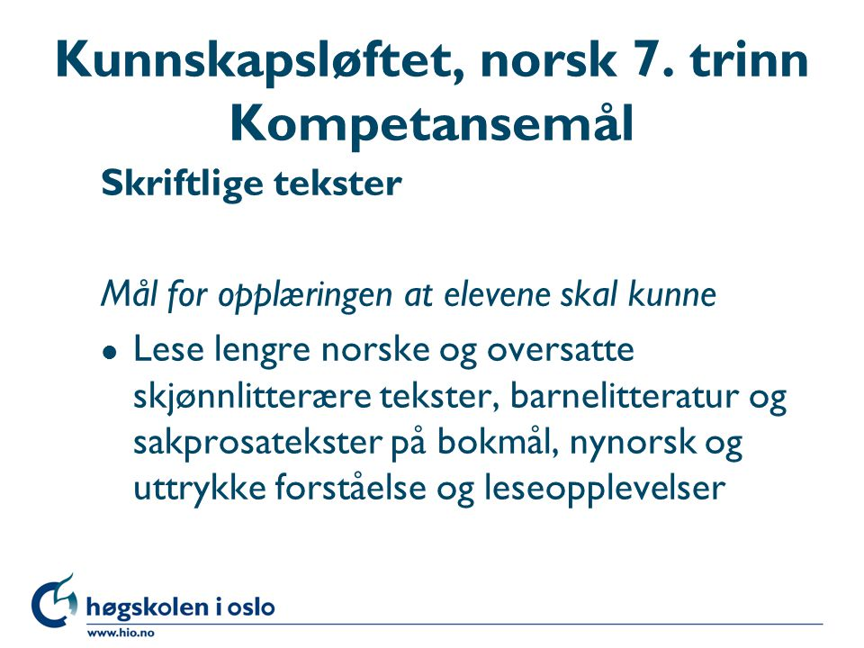 Kunnskapsløftet, norsk 7.