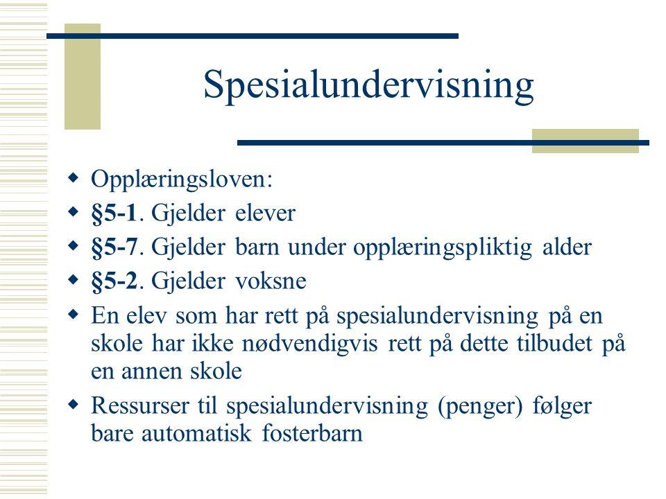 Spesialundervisning  Opplæringsloven:  §5-1.Gjelder elever  §5-7.