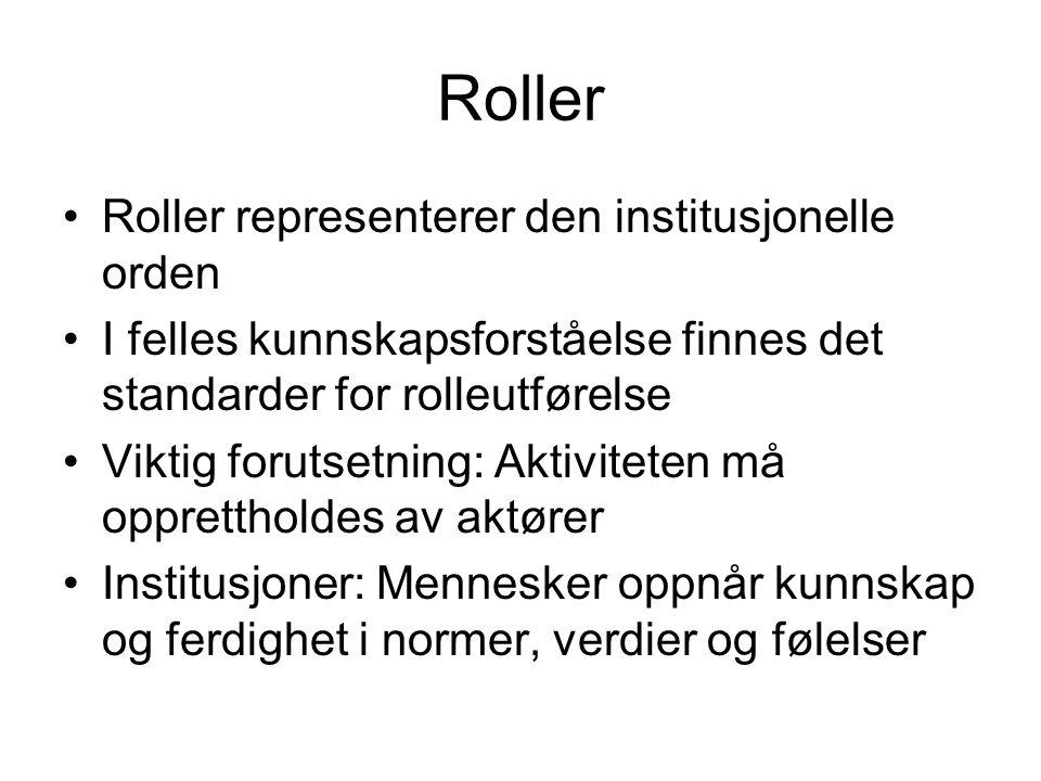 Roller Roller representerer den institusjonelle orden I felles kunnskapsforståelse finnes det standarder for rolleutførelse Viktig forutsetning: Aktiviteten må opprettholdes av aktører Institusjoner: Mennesker oppnår kunnskap og ferdighet i normer, verdier og følelser