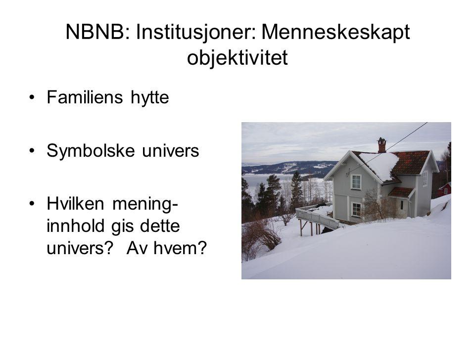 NBNB: Institusjoner: Menneskeskapt objektivitet Familiens hytte Symbolske univers Hvilken mening- innhold gis dette univers? Av hvem?