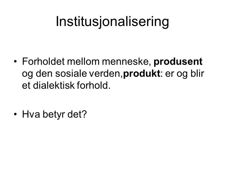 Institusjonalisering Forholdet mellom menneske, produsent og den sosiale verden,produkt: er og blir et dialektisk forhold.