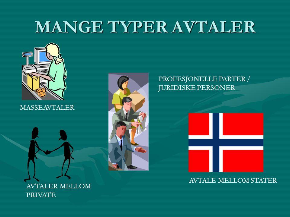 MANGE TYPER AVTALER MASSEAVTALER PROFESJONELLE PARTER / JURIDISKE PERSONER AVTALE MELLOM STATER AVTALER MELLOM PRIVATE
