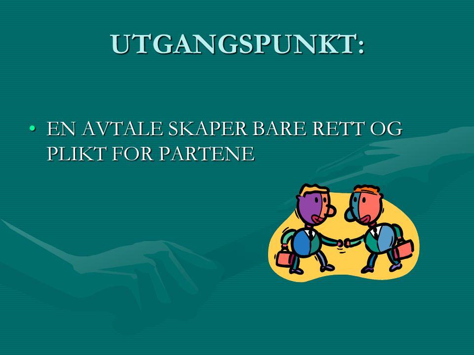 UTGANGSPUNKT: EN AVTALE SKAPER BARE RETT OG PLIKT FOR PARTENEEN AVTALE SKAPER BARE RETT OG PLIKT FOR PARTENE
