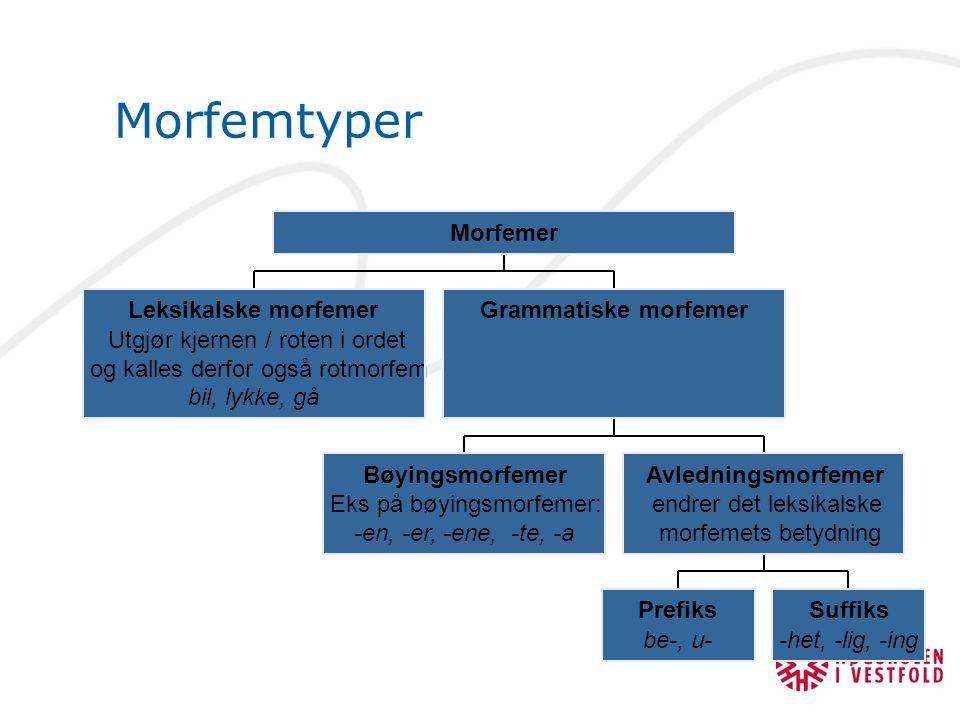 Morfemtyper Leksikalske morfemer Utgjør kjernen / roten i ordet og kalles derfor også rotmorfem bil, lykke, gå Bøyingsmorfemer Eks på bøyingsmorfemer: -en, -er, -ene, -te, -a Prefiks be-, u- Suffiks -het, -lig, -ing Avledningsmorfemer endrer det leksikalske morfemets betydning Grammatiske morfemer Morfemer