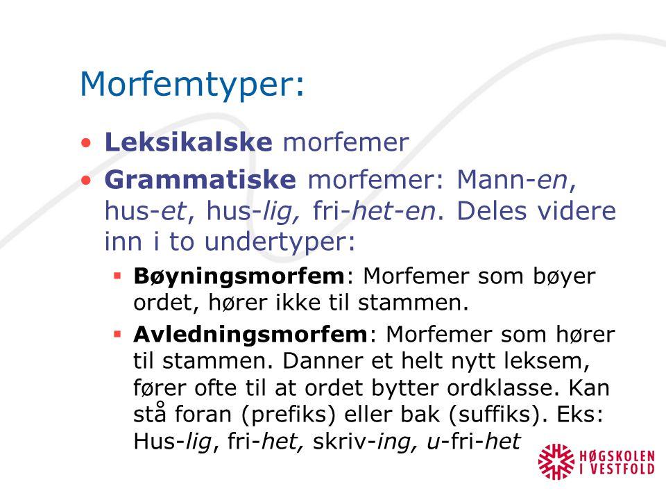 Morfemtyper: Leksikalske morfemer Grammatiske morfemer: Mann-en, hus-et, hus-lig, fri-het-en.