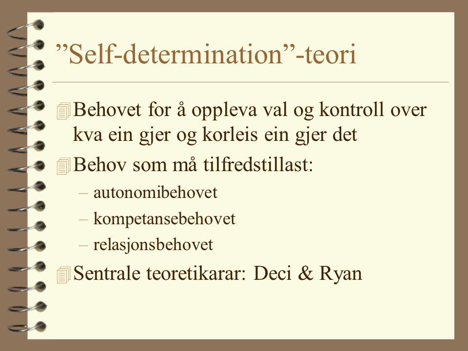 Self-determination -teori 4 Behovet for å oppleva val og kontroll over kva ein gjer og korleis ein gjer det 4 Behov som må tilfredstillast: –autonomibehovet –kompetansebehovet –relasjonsbehovet 4 Sentrale teoretikarar: Deci & Ryan