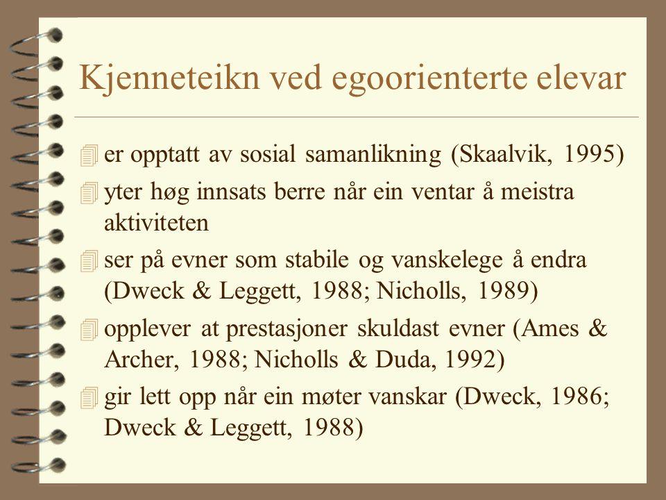 Kjenneteikn ved egoorienterte elevar 4 er opptatt av sosial samanlikning (Skaalvik, 1995) 4 yter høg innsats berre når ein ventar å meistra aktiviteten 4 ser på evner som stabile og vanskelege å endra (Dweck & Leggett, 1988; Nicholls, 1989) 4 opplever at prestasjoner skuldast evner (Ames & Archer, 1988; Nicholls & Duda, 1992) 4 gir lett opp når ein møter vanskar (Dweck, 1986; Dweck & Leggett, 1988)