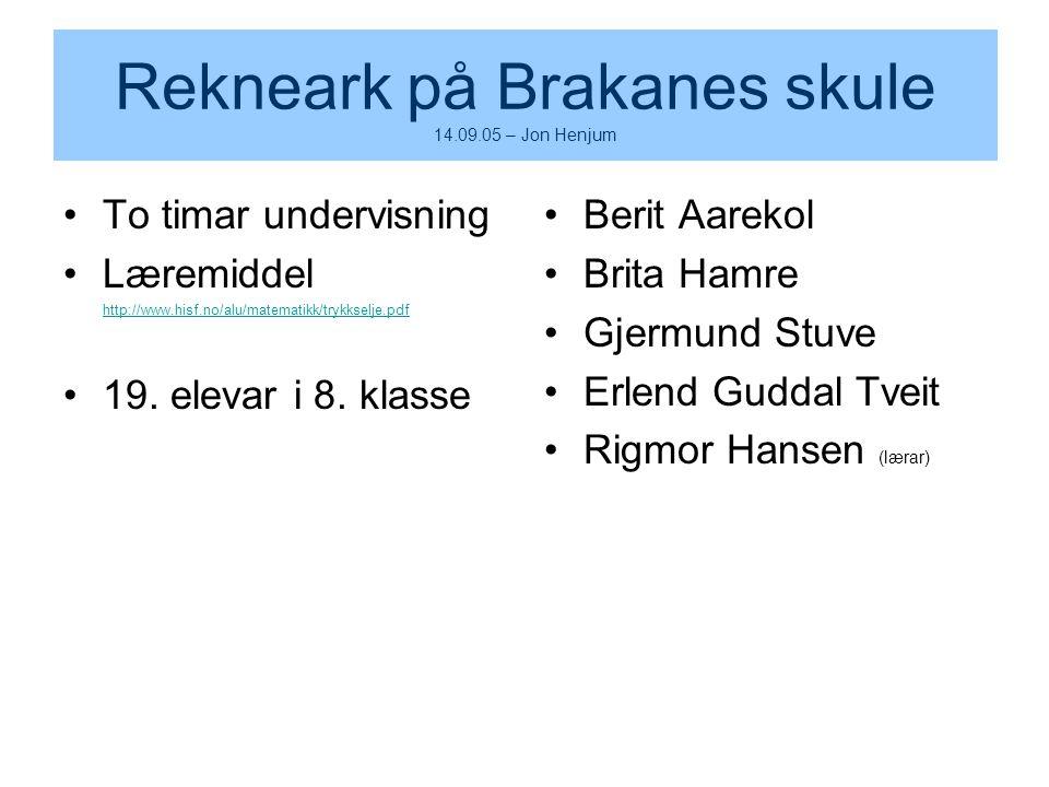Rekneark på Brakanes skule 14.09.05 – Jon Henjum To timar undervisning Læremiddel http://www.hisf.no/alu/matematikk/trykkselje.pdf 19. elevar i 8. kla