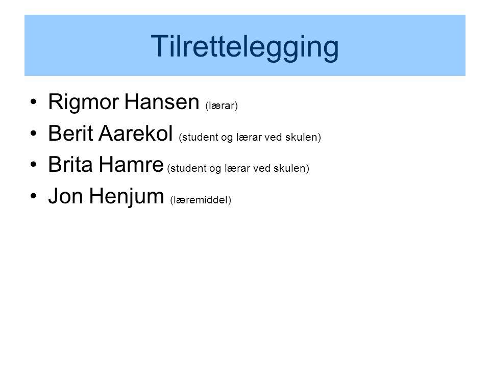 Tilrettelegging Rigmor Hansen (lærar) Berit Aarekol (student og lærar ved skulen) Brita Hamre (student og lærar ved skulen) Jon Henjum (læremiddel)