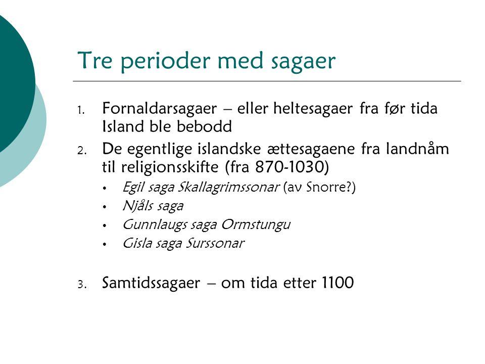 Tre perioder med sagaer 1. Fornaldarsagaer – eller heltesagaer fra før tida Island ble bebodd 2. De egentlige islandske ættesagaene fra landnåm til re