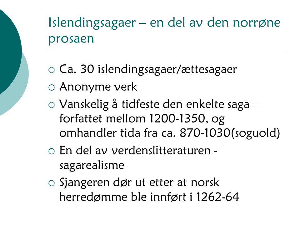Islendingsagaer – en del av den norrøne prosaen  Ca. 30 islendingsagaer/ættesagaer  Anonyme verk  Vanskelig å tidfeste den enkelte saga – forfattet