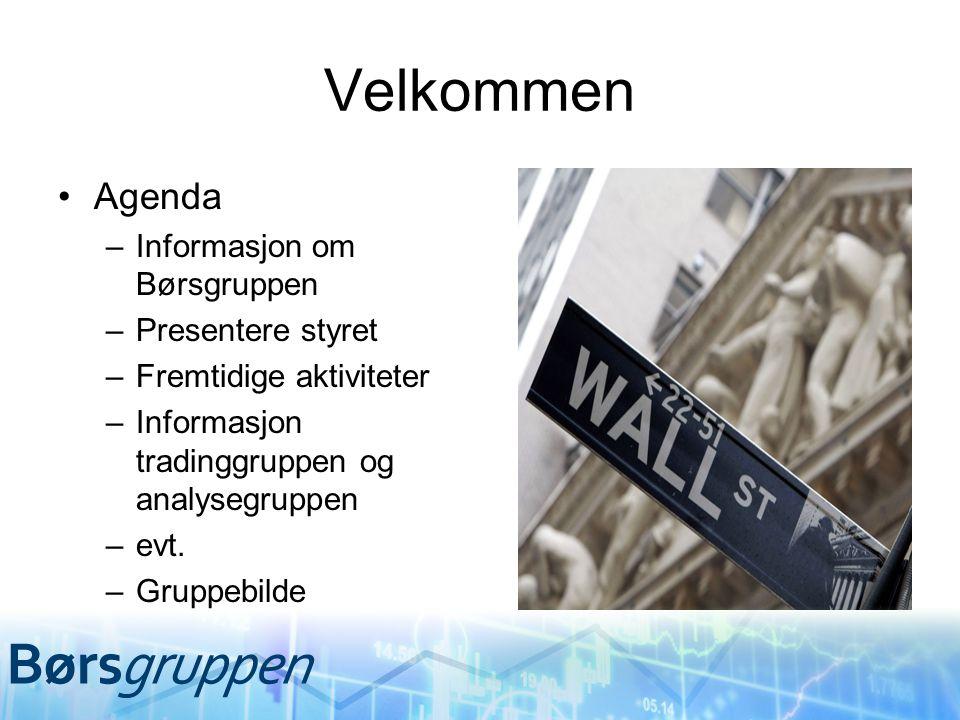 Velkommen Agenda –Informasjon om Børsgruppen –Presentere styret –Fremtidige aktiviteter –Informasjon tradinggruppen og analysegruppen –evt. –Gruppebil